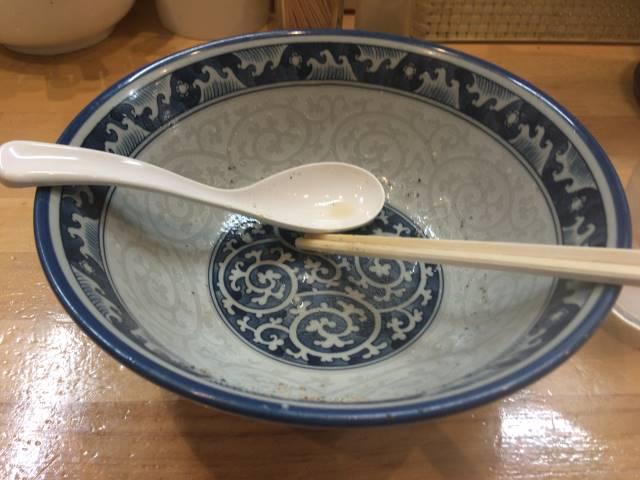 食べ終えた丼:ラーメンソレナリの背脂のラーメン