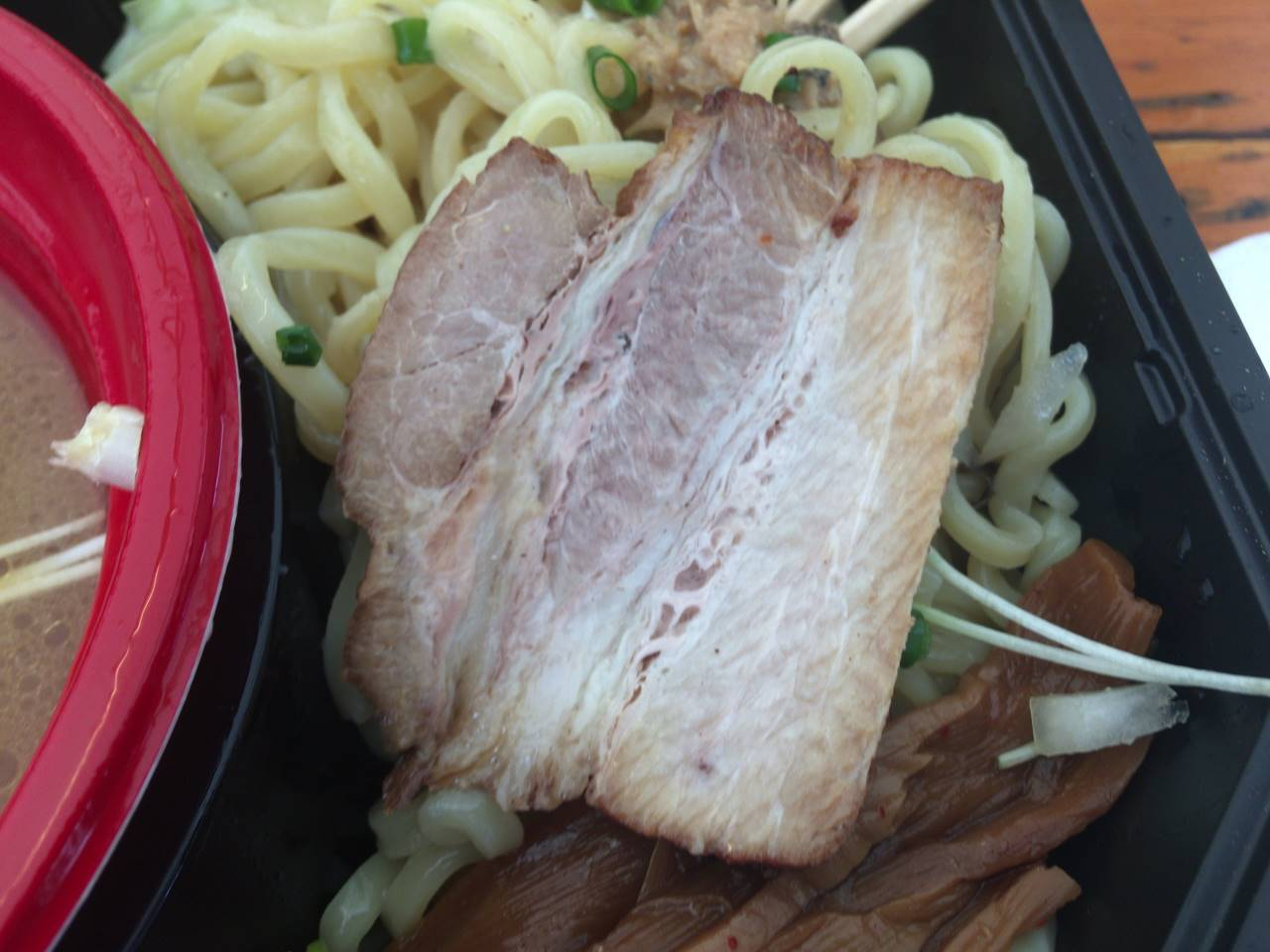 豚肉:竹末食堂 大つけ麺博2019のつけ麺 ℃濃厚帆立ソースの鶏つけ麺 トリュフの香りと共に