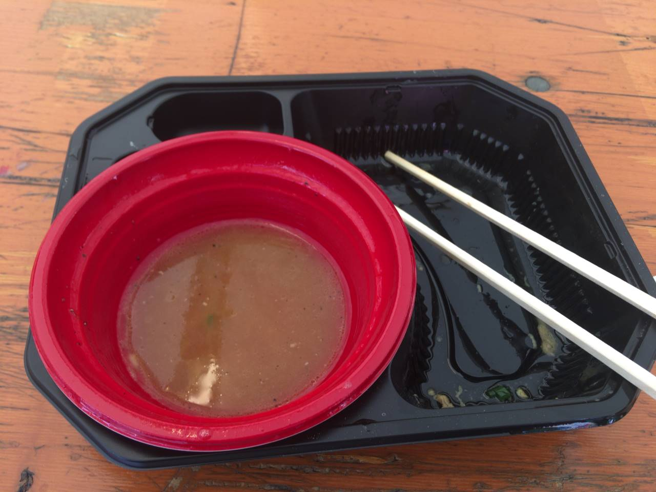 スープ割終盤:竹末食堂 大つけ麺博2019のつけ麺 ℃濃厚帆立ソースの鶏つけ麺 トリュフの香りと共に