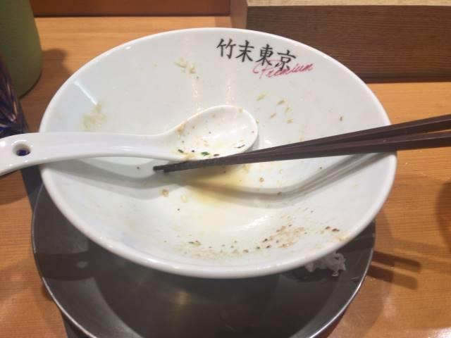 完食・完飲して食べ終えた丼:竹末東京プレミアム