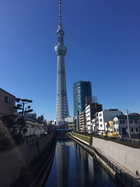 十間橋から見える逆さ東京スカイツリー