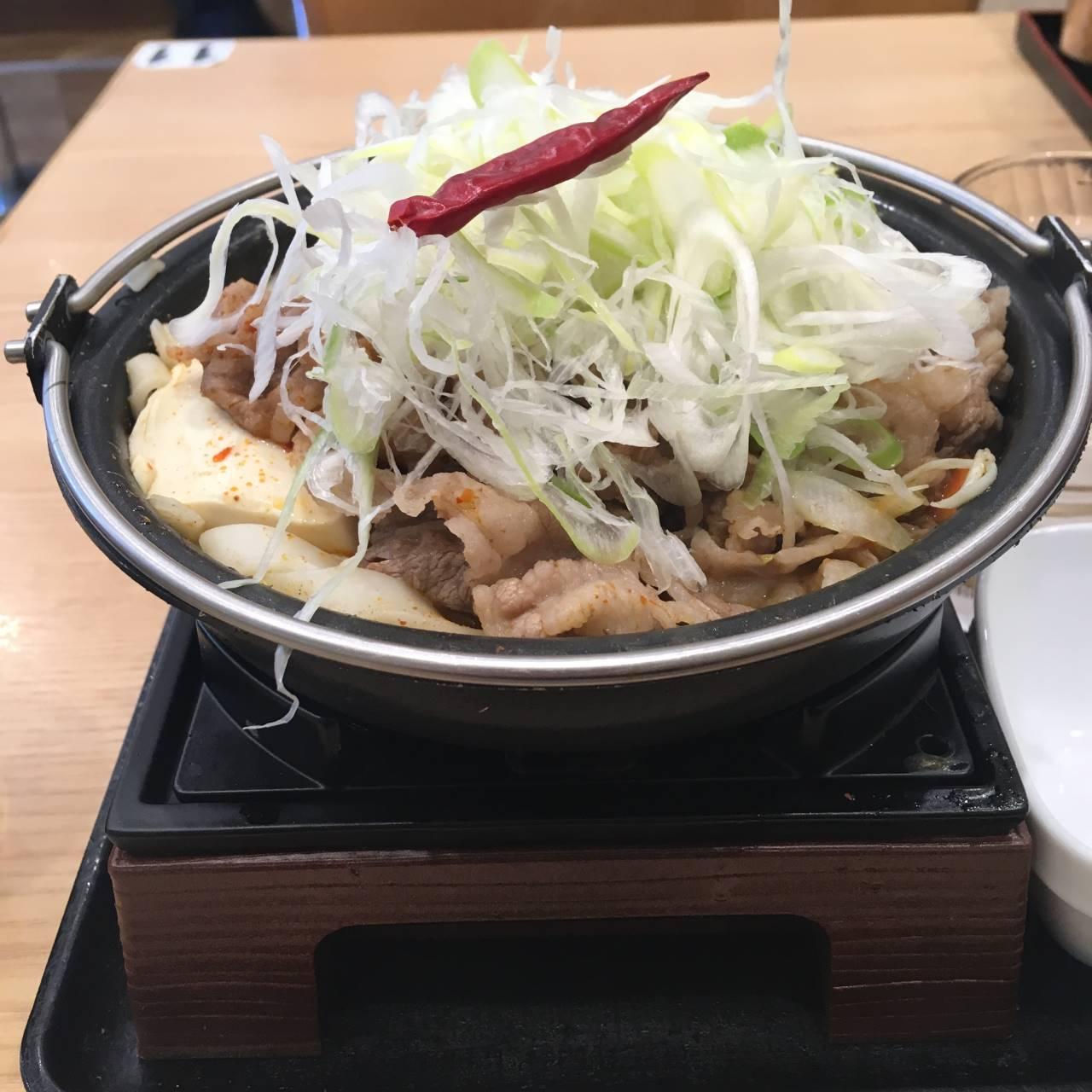 麻辣牛鍋膳単品大盛ねぎ増し側面から見た状態