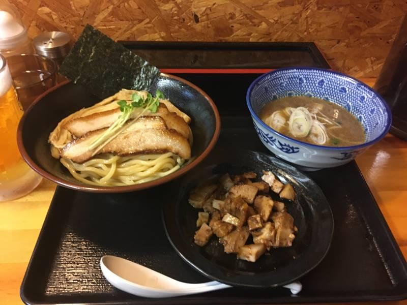 麺屋頂中川會のつけ麺と、くずチャーシュー