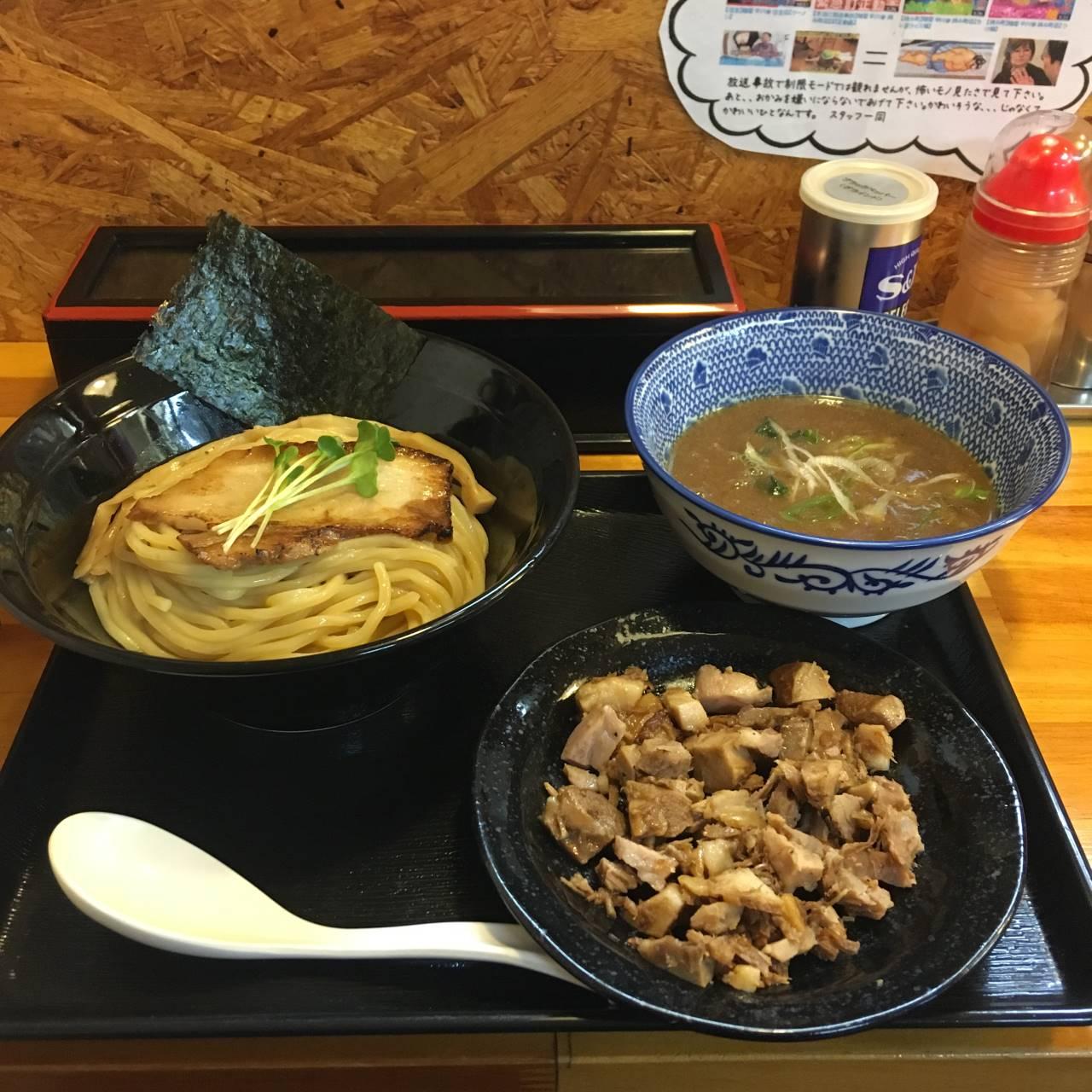 麺屋 頂 中川會のつけ麺とくずチャーシュー