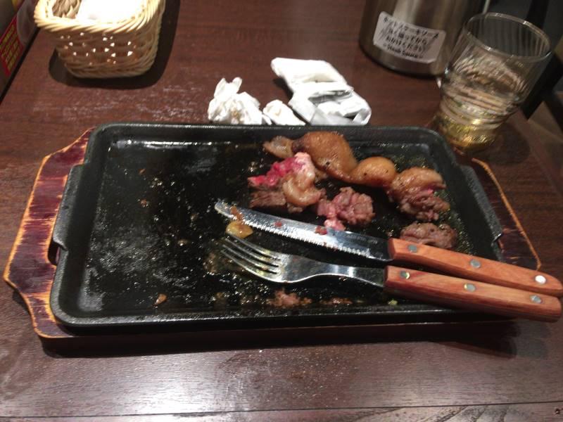 「本格熟成国産牛サーロインステーキ」食べ終えた図