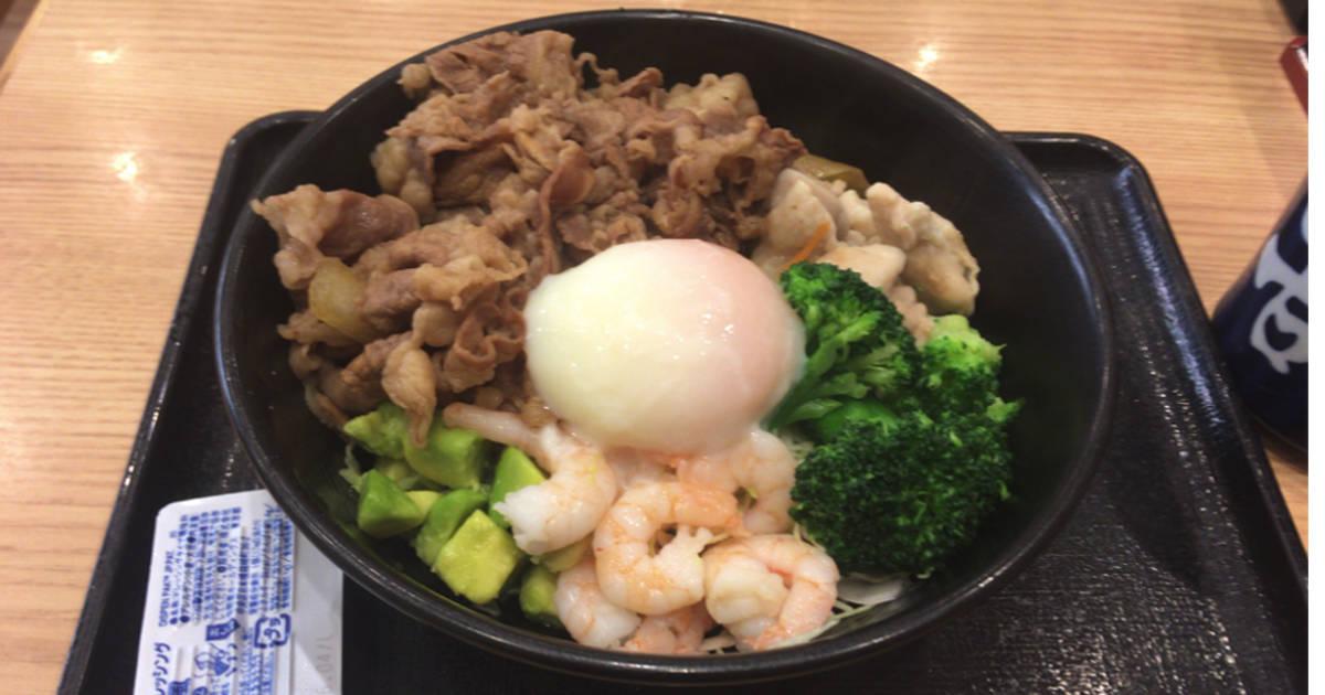 ライザップ牛サラダエビアボカド+牛肉増量|吉野家