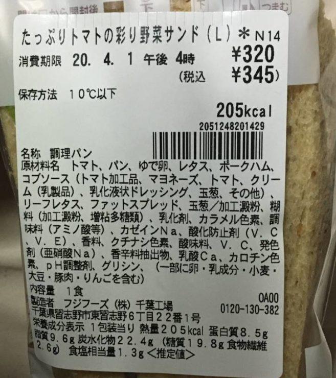 原材料と栄養成分表示