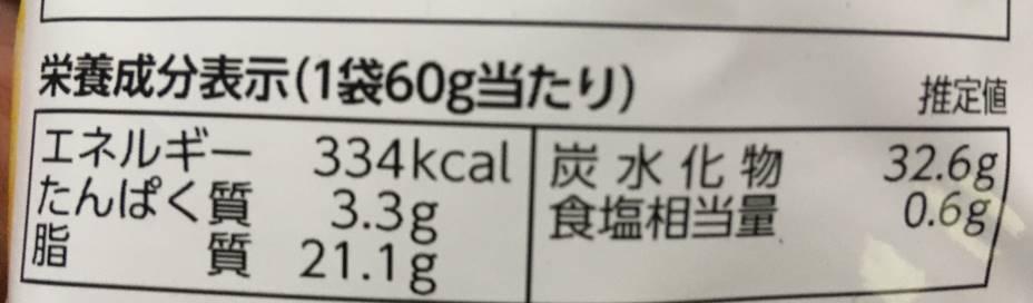 カルビーポテトチップス コンソメの栄養成分表示