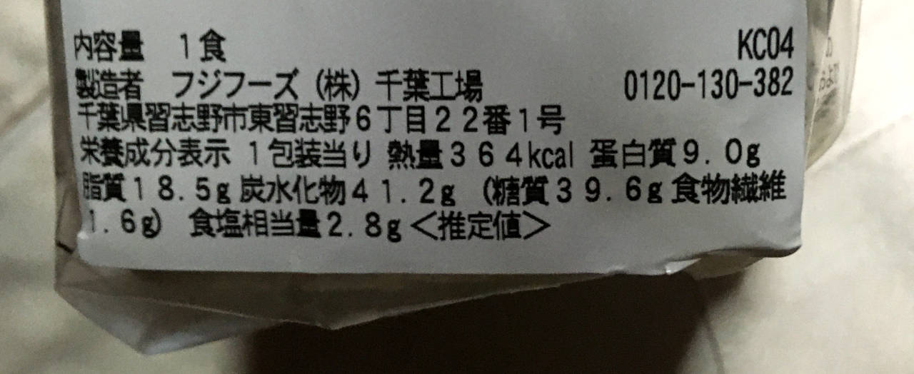 ハムカツサンドの栄養成分表示