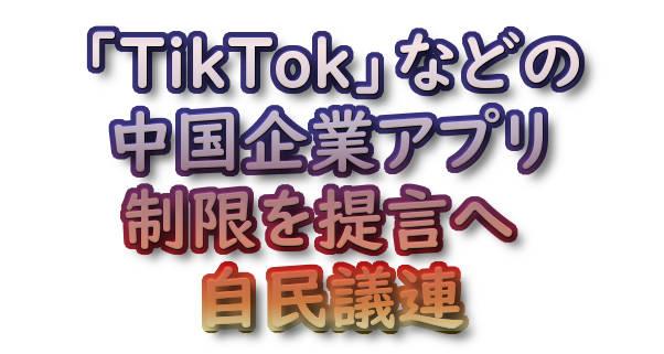 「TikTok」などの中国企業アプリ制限を提言へ 自民議連