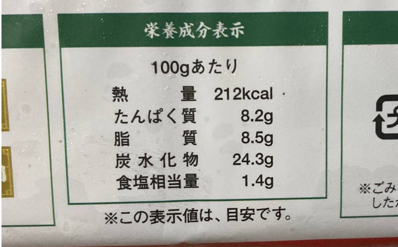 大阪王将の冷凍餃子の栄養成分表示