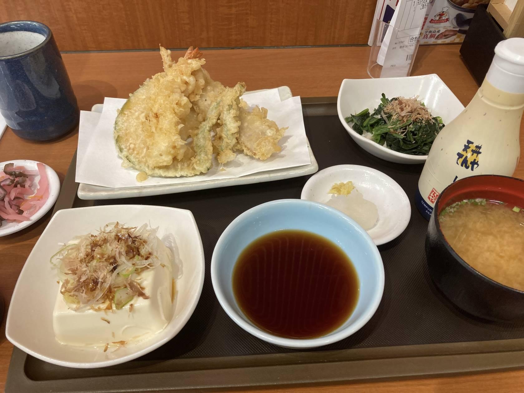 天ぷら定食(ご飯を冷奴に変更)|てんや