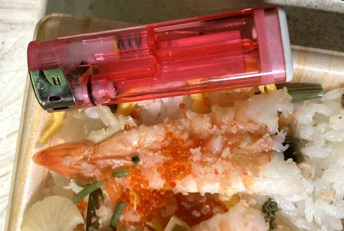 100円ライターとエビの大きさ比較
